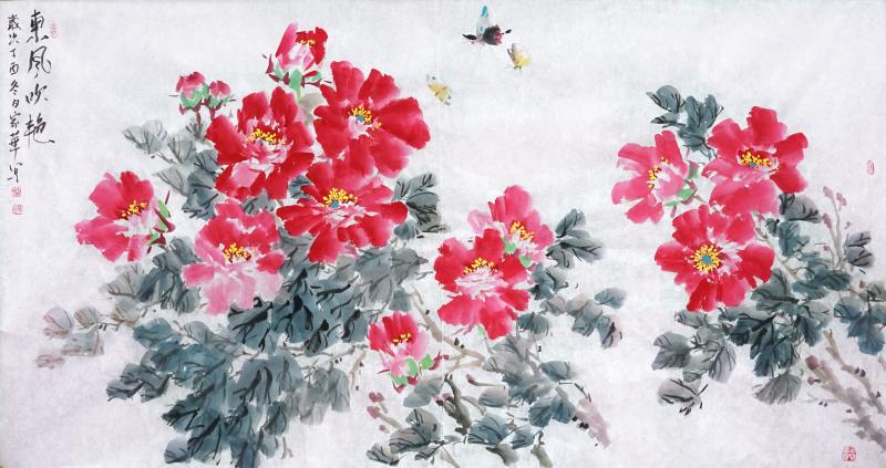 东风吹艳(中国画)