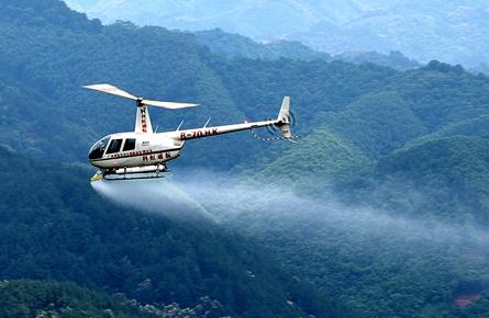 市林业部门使用直升机喷药防治松材线虫病