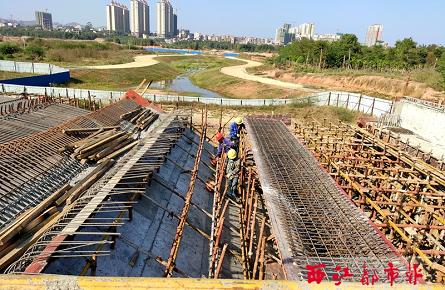 苍海湖水系桥施工