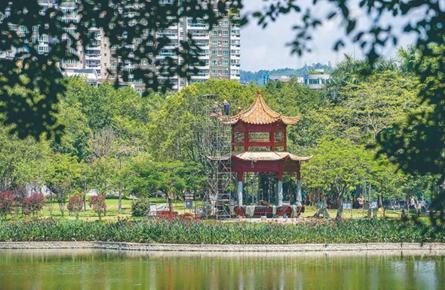 潘塘公园增设六角亭