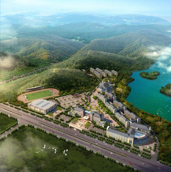 從效果圖上可以看出,建成后的梧州高中新校區依山傍水,風景如畫.